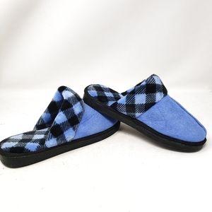 Vera Bradley Shoes - Vera Bradley Blue Slip On Fuzzy Plaid Slippers Lg